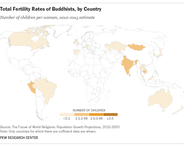 Total Fertility Rates of Buddhists, by Country