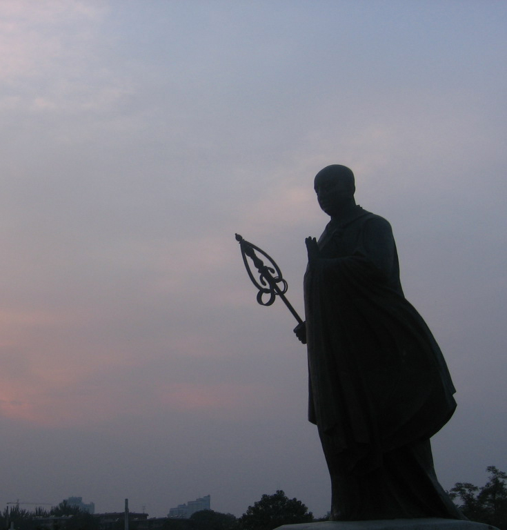 Statue of Xuanzang at the Great Wild Goose Pagoda in Xi'an.