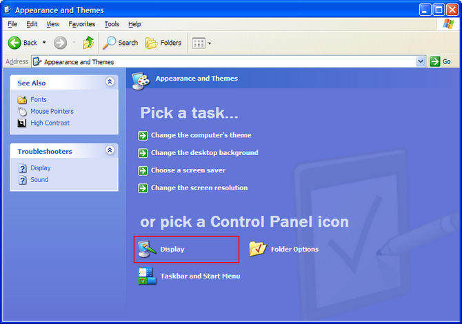Click Display in Control Panel