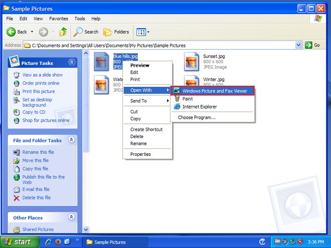 Click Windows Picture and Fax Viewer in the context menu.