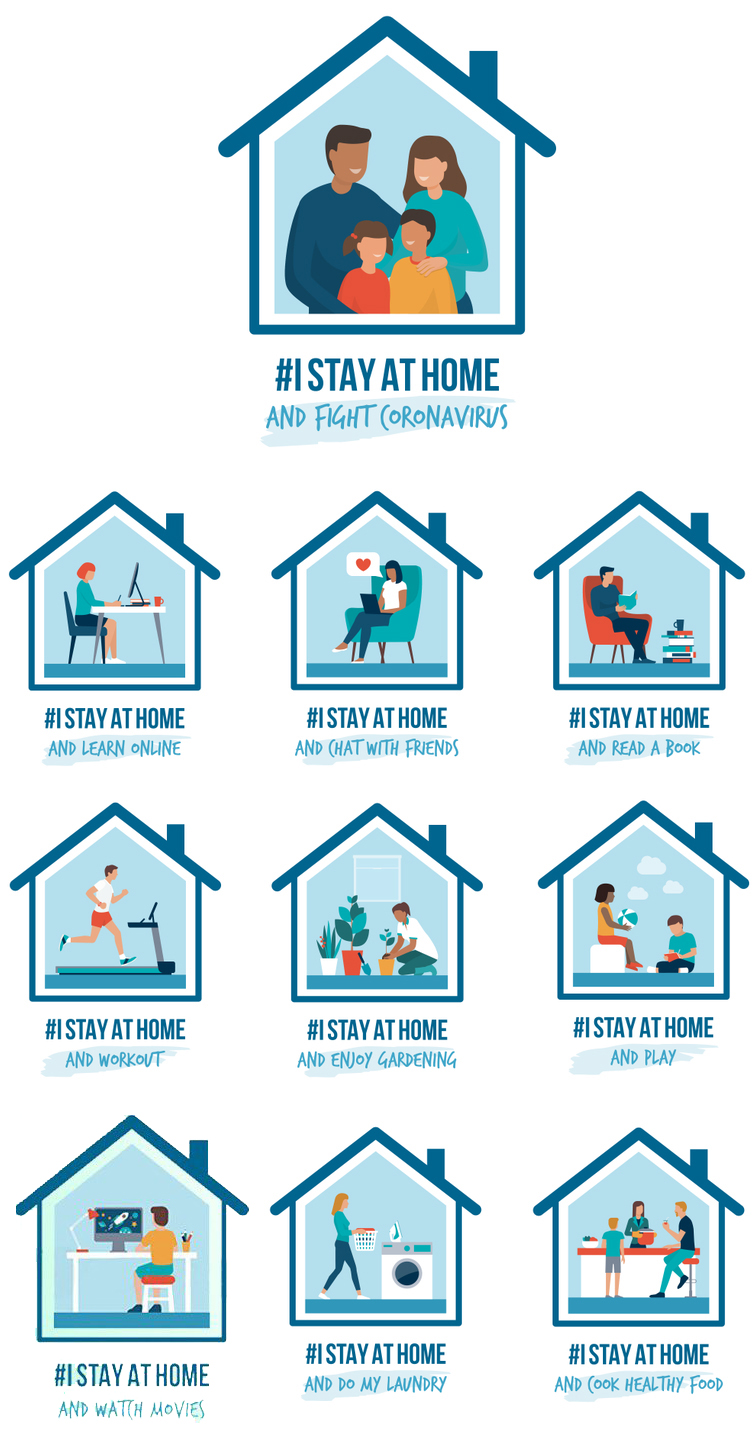 I stay at home awareness social media campaign and coronavirus prevention: people and families doing different activities and supporting the cause