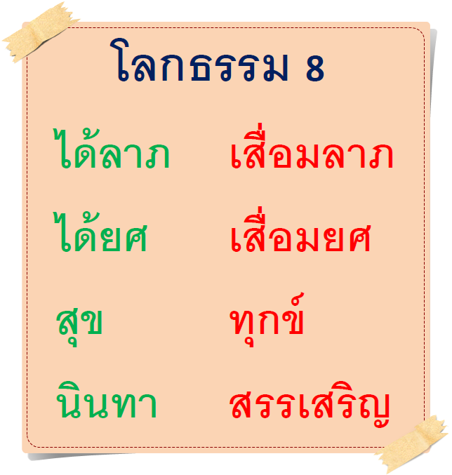 โลกธรรม 8   (8 eight worldly conditions)