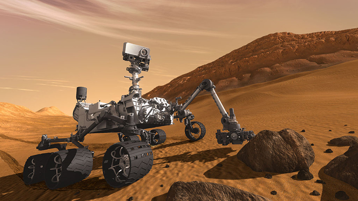 Robotic exploration of the Solar System (image: Curiosity rover on Mars)