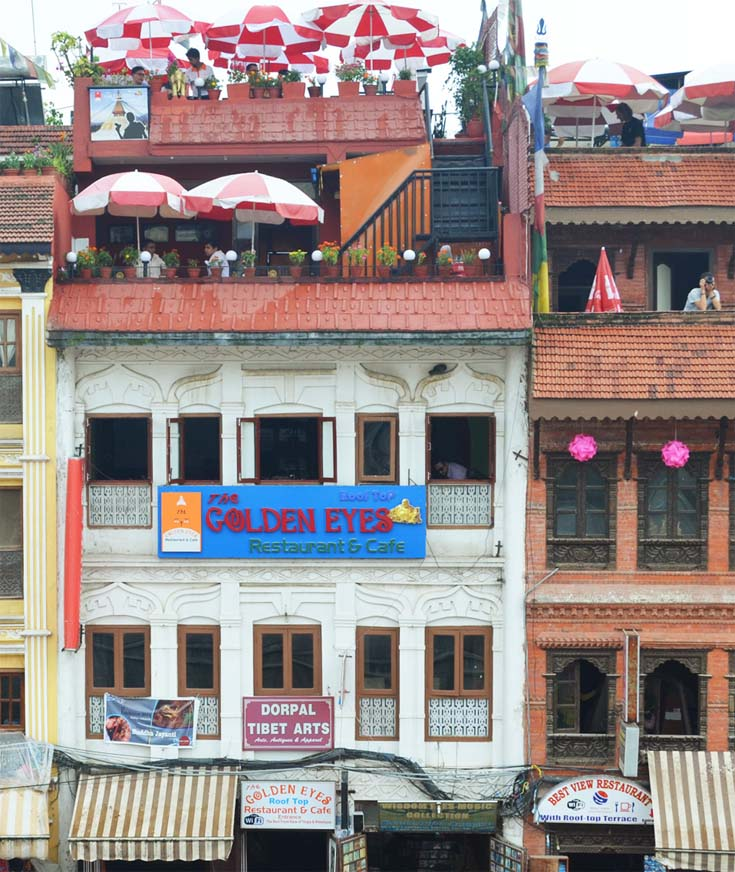 The Golden Eyes Restaurant at Boudhanath Stupa, Kathmandu, Nepal