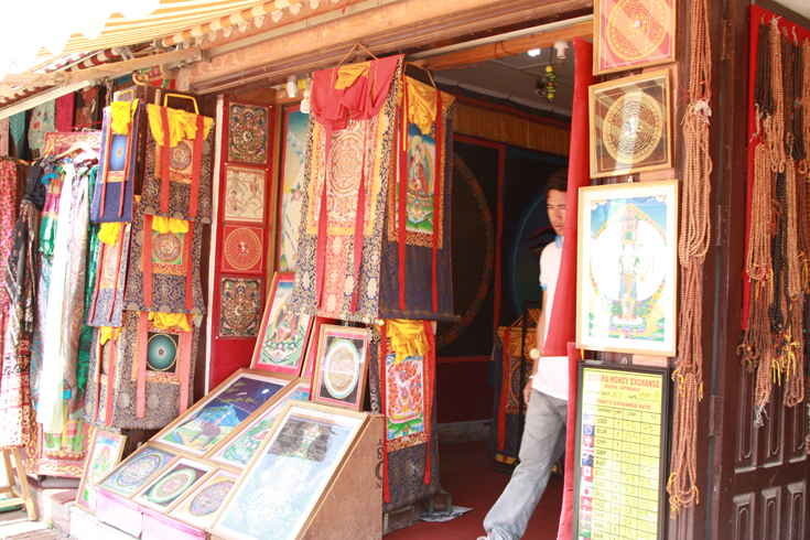 There are many handicraft stores located all around the stupa. This may be the best place in Nepal for Buddhist and Tibetan related items - statues, prayer flags, Tibetan incense, etc.