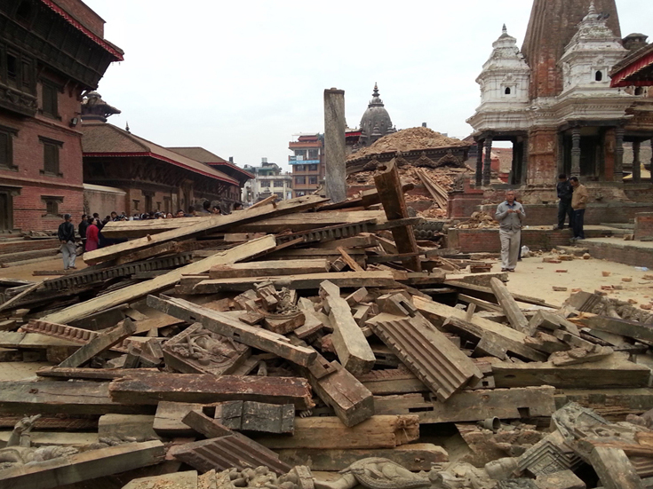 Patan Durbar Square After an earthquake hits nepal On April 25, 2015.