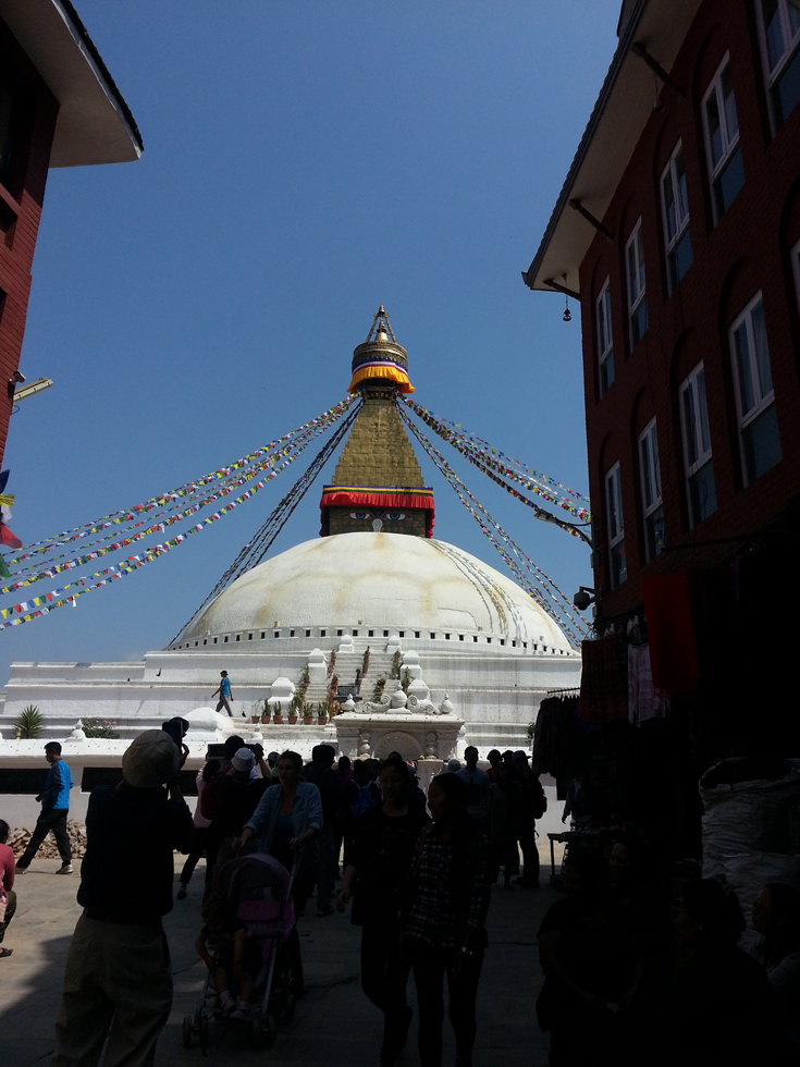 View of the Boudhanath Stupa as seen from outside the entrance gate