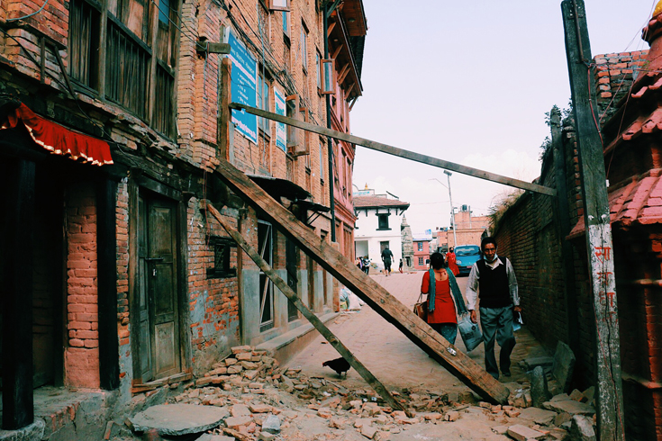 A street in quake-hit Bhaktapur in Nepal. (Photo: Jack Board)