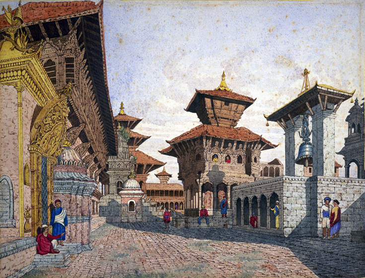 Watercolor of Bhaktapur Durbar Square, the royal palace complex, in 1854, painted by Henry Ambrose Oldfield