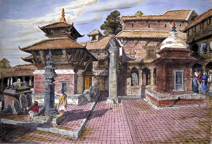 Watercolor of  Changu Narayan Temple complex at Bhaktapur, in 1854, painted by Henry Ambrose Oldfield