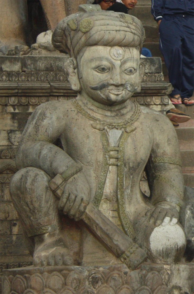 The wrestler Jayamel at the bottom plinth of Nyatapola temple