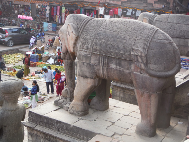 Pair of huge elephants guarding Nyatapola Temple, Taumadhi Tole, Bhaktapur City