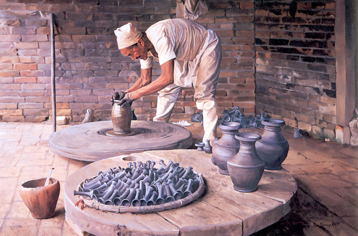 Pottery Man At Bhaktapur