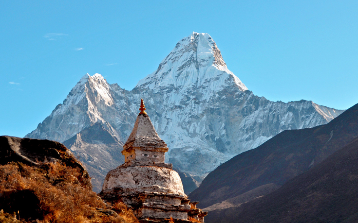 Pagoda in front of Mount Ama Dablam, Nepal