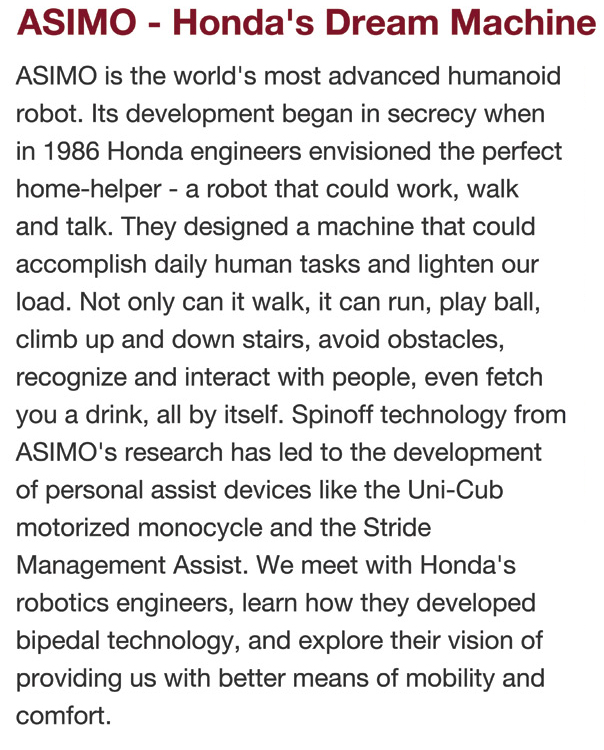 ASIMO - Honda's dream machine
