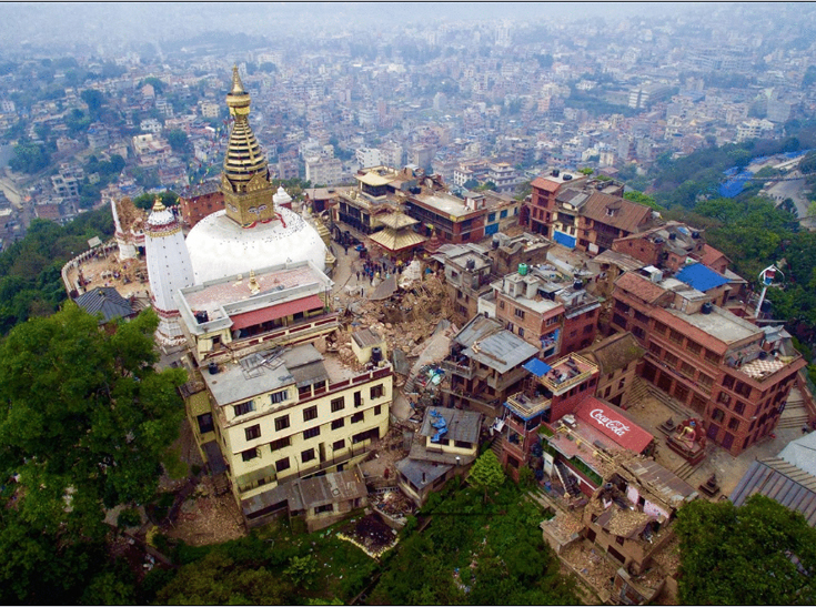 Aerial View of Swayambhunath temple after a 7.8 magnitude quake hit the region On April 25, 2015.