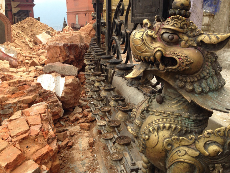 Some idols stand tall amid the devastation. (Photo: Anand Krishna)