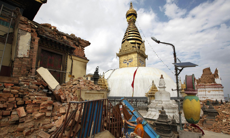 Swayambhunath Stupa   (Monkey Temple), Kathmandu, Nepal After the earthquake