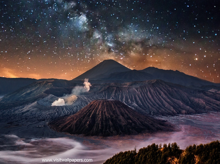 Mount Bromo at Night
